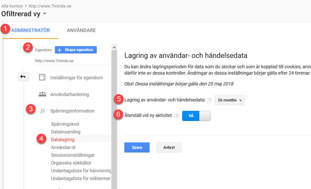bild på hur sidan för inställningar ser ut i Google analytics